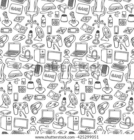 Hand drawn gamer seamless pattern with doodle elements on white background. Gamer gadgets wallpaper - stock vector