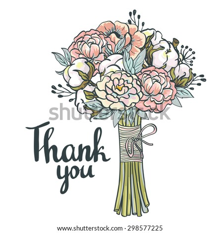 Hand drawn garden floral Thank you card. Hand drawn vintage collage frame with roses, cotton, peony. Vector greeting design - stock vector