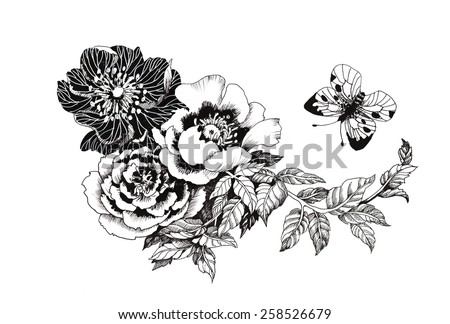 Hand drawn garden flowers with butterfly isolated on white background vector illustration - stock vector