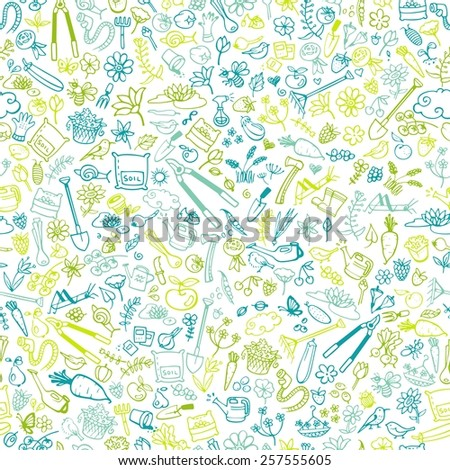 hand drawn garden icons seamless background, vector illustration - stock vector