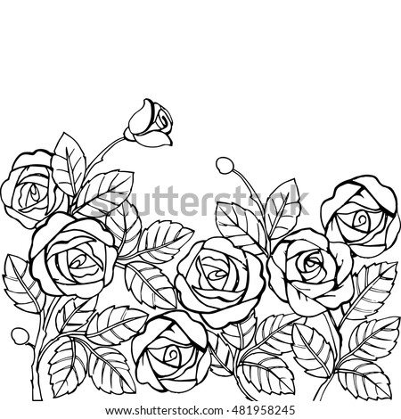 Black White Seamless Pattern Abstract Roses Stock Vector 334357100