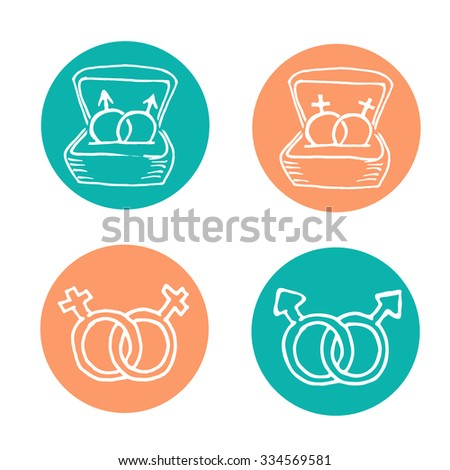 Hand drawn gay and lesbian marriage scribble icon set. Human rights to get married. Aqua and light orange circle background. - stock vector
