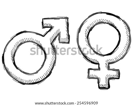 Hand drawn gender symbols. Sketch of man and woman signs in doodle style. Qualitative vector illustration about man, woman, sex differences, relationship, gender role, sexual orientation, etc - stock vector