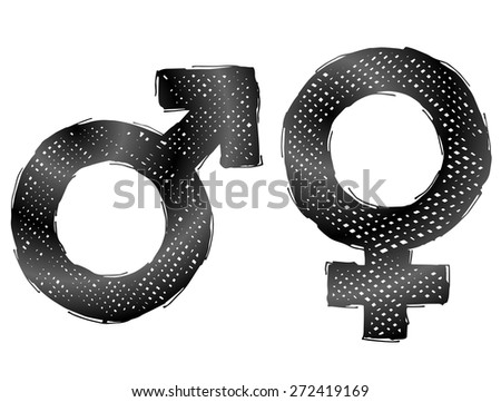 Hand drawn gender symbols with dark hatching. Sketch of man and woman signs in doodle style. Vector illustration about man, woman, sex differences, relationship, gender role, sexual orientation, etc - stock vector