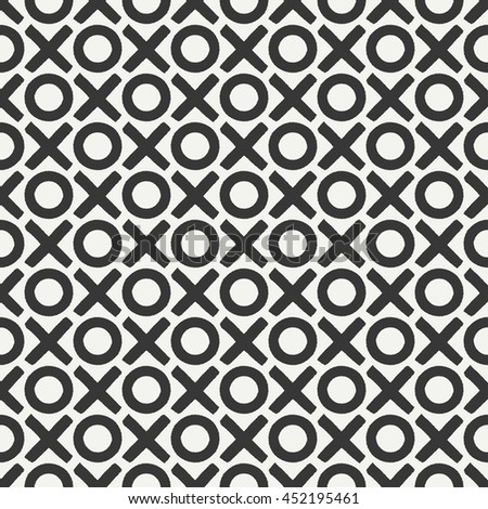 Hand drawn geometric seamless ink pattern with brush strokes. Wrapping paper. Abstract vector background. Brush strokes. Texture with crosses, tac-toe. Dry brush. Rough edges ink illustration. - stock vector