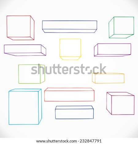 Hand drawn geometric shapes, outline. Vector illustration.  - stock vector