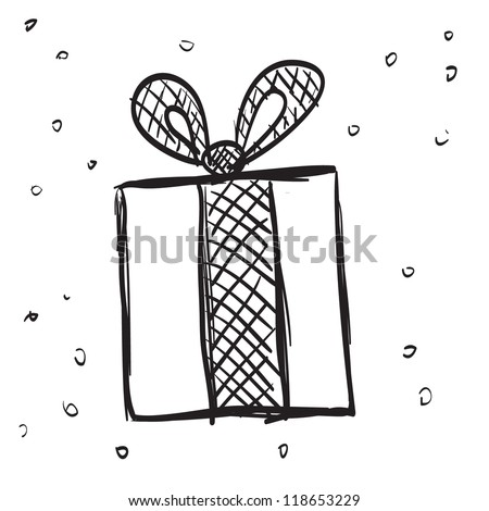 Hand Drawn gift - stock vector