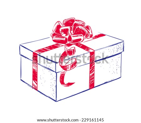 Hand drawn gift box with bow. Vector illustration. - stock vector