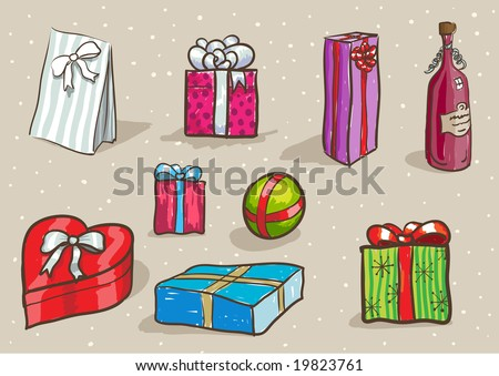 hand drawn gift set. easy editable separated layers in vector file. - stock vector