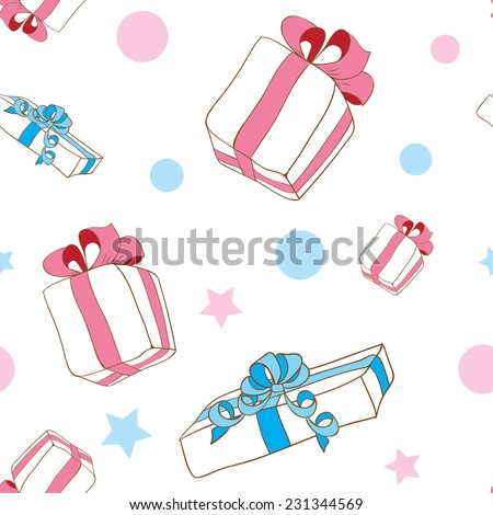 Hand drawn gifts pattern background