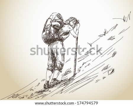 Hand drawn girl trekking with backpack in mountain Vector - stock vector