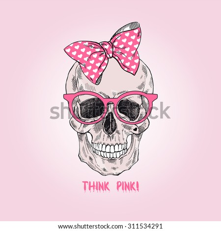 hand drawn glamour girly scull, t-shirt design  - stock vector