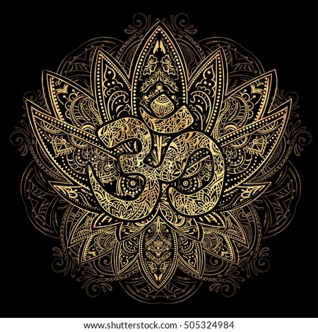 Hand Drawn Gold On Black Ornate Vector Ornamental Lotus Tattoo Ith Om As A