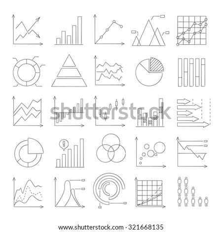 hand drawn graph, chart, data analysis icons - stock vector