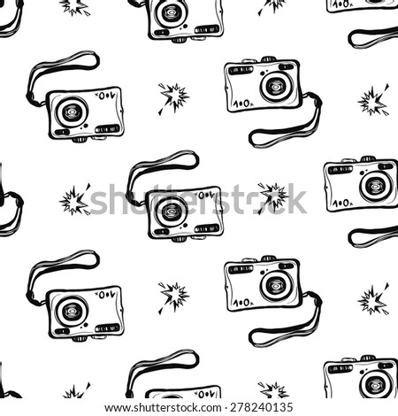 Hand drawn graphic black and white sketched camera and flash. Set of modern photo items seamless pattern. Hatched line art sketch on white background