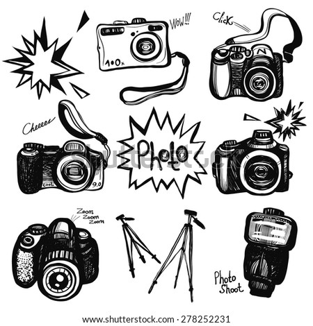 Hand drawn graphic black and white sketched digital camera SLR and stuff. Set of modern photo items. Hatched line art sketch on white background