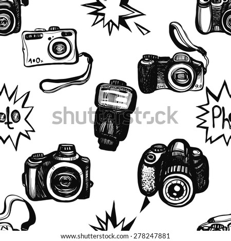 Hand drawn graphic black and white sketched flash, body, camera, digital, SLR. Set of modern photo items seamless pattern. Hatched line art sketch on white background
