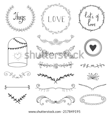 hand drawn graphic flower set for wedding design - stock vector