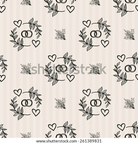 Hand Drawn graphic vintage bouquet and ring. Set of isolated floral rustic forest wedding decorative symbols and elements. Chess grid order pattern. - stock vector
