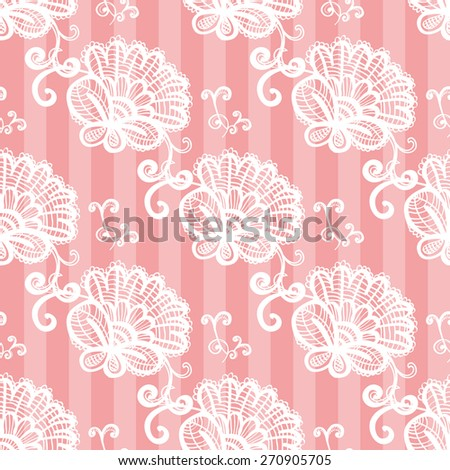 Hand Drawn graphic vintage white line lace peony and twig seamless pattern on soft striped pink background. Set of isolated floral laces wedding invitation decorative elements. Chess grid order - stock vector