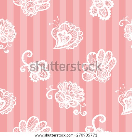 Hand Drawn graphic vintage white line lace peony, bud, daisy seamless pattern on soft striped pink background. Set of isolated floral laces wedding invitation decorative elements. Chess grid order - stock vector