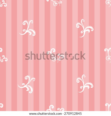 Hand Drawn graphic vintage white line lace twig seamless pattern on soft striped pink background. Set of isolated floral laces wedding invitation decorative elements. Chess grid order - stock vector