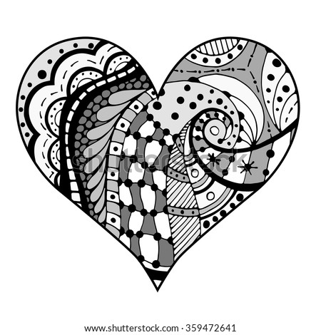 Hand drawn gray hearts in zentangle style. Pattern for coloring book. Coloring page for adult anti stress. Made by trace from sketch. Valentine's day background.