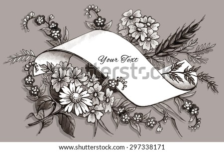 Hand Drawn Greeting Card Template - stock vector