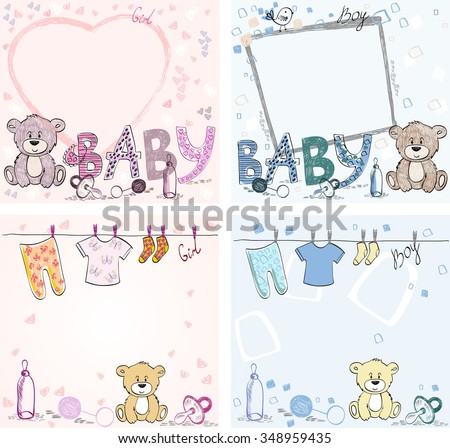 Hand drawn  greeting card with baby elements. - stock vector