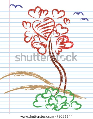 Hand-Drawn Groovy Heart Notebook Doodles on Graph (Grid) Sketchbook Paper Background- Vector Illustration - stock vector