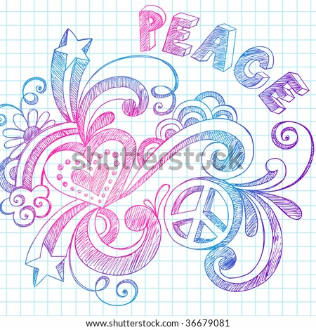 Hand-Drawn Groovy Sketchy Doodles on Grid Notebook Paper Vector - stock vector