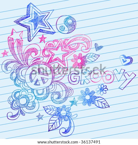 Hand-Drawn Groovy Sketchy Doodles on Lined Notebook Paper Vector - stock vector