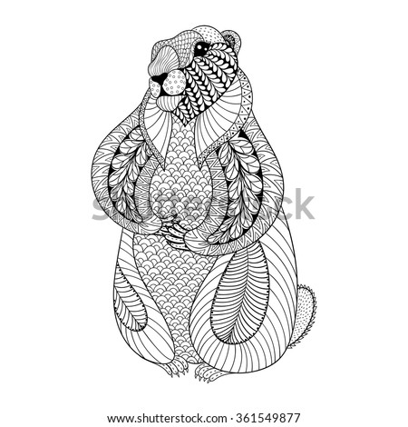hand drawn groundhog for adult coloring pages in doodle zentangle tribal style groundhog day