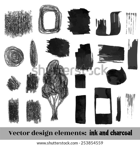 Hand Drawn Grunge background elements set. Ink and charcoal for design. Vector Illustration - stock vector