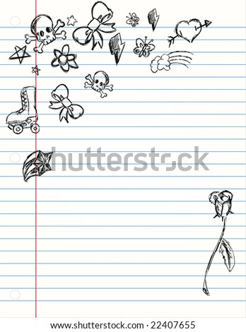 Hand Drawn Grunge Icons on Lined school paper - stock vector