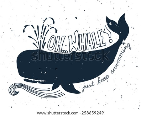 Hand drawn grunge illustration of whale - stock vector
