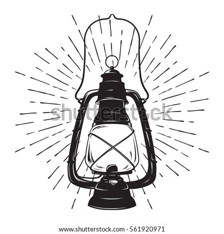 Hand Drawn Grunge Sketch Vintage Oil Lantern Or Kerosene Lamp With Rays Of Light