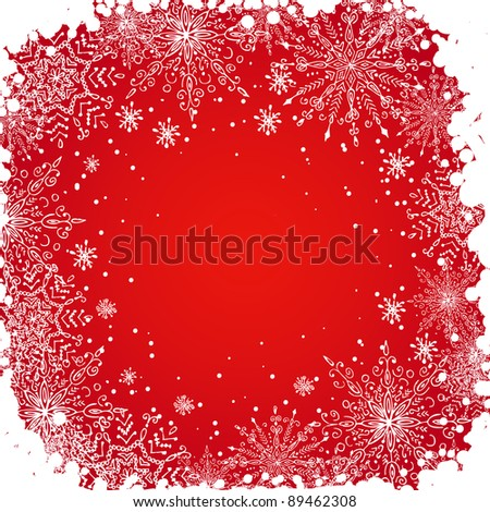 Hand drawn grunge snowflakes background, for your design. - stock vector