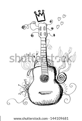 Hand drawn guitar - stock vector
