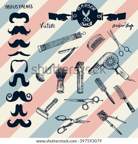 Hand drawn hairdressers professional tools and hair salon logo, labels, badges. Barber Stylist Tools set. Vector barbershop vintage collection. Retro Illustration in ancient engraving style - stock vector