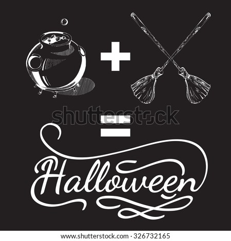 Hand drawn Halloween design elements. Halloween icon with calligraphy. Broom, cauldron, shape. Hand drawn typography poster. Black and white Halloween posters - stock vector