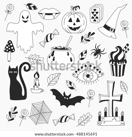 hand drawn halloween drawings symbols collection - Pictures Of Halloween Drawings