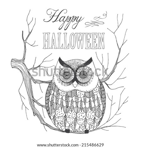 hand drawn halloween owl sitting on a twig - stock vector