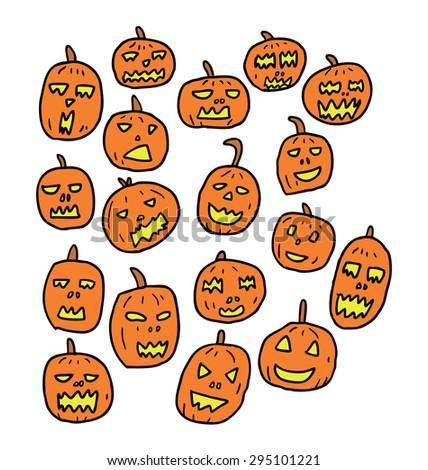 hand drawn Halloween pumpkin  - stock vector