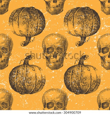 Hand drawn Halloween seamless pattern with pumpkin and skull - stock vector