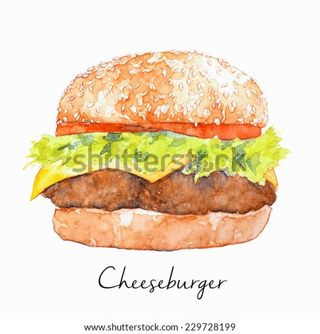Hand Drawn Hamburger, watercolor Sketch, Vector Illustration For Food Design. - stock vector