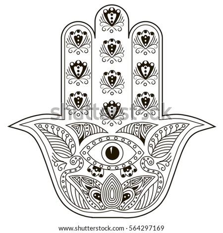 Hand Drawn Hamsa Zen Tangle Style Illustration For Coloring Book Page Graphic Ornamental