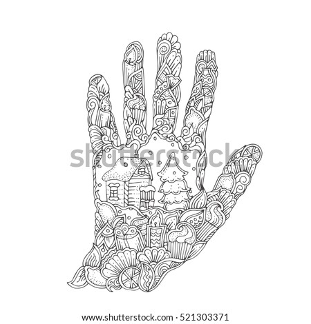 Hand Drawn With Ethnic Floral Pattern Coloring Page