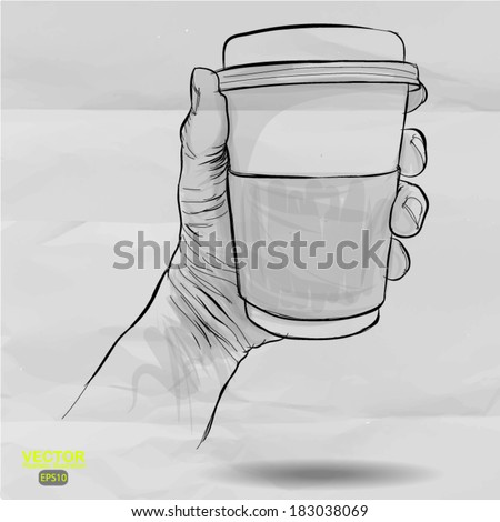 hand drawn hands holding cup of coffee on crumpled paper background - stock vector