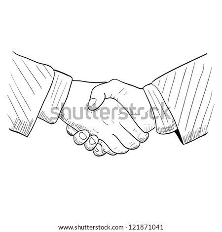 Hand drawn handshake - stock vector